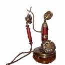 Historický telefon - Stolní kulaty s mikrofonem a patinou