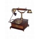 Historický telefon - Stolní nízký mosaz s patinou