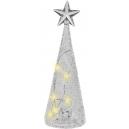 Skleněná dekorace ve tvaru stromku s LED světlem