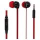 Sluchátka do uší s ovládáním hlasitosti červené